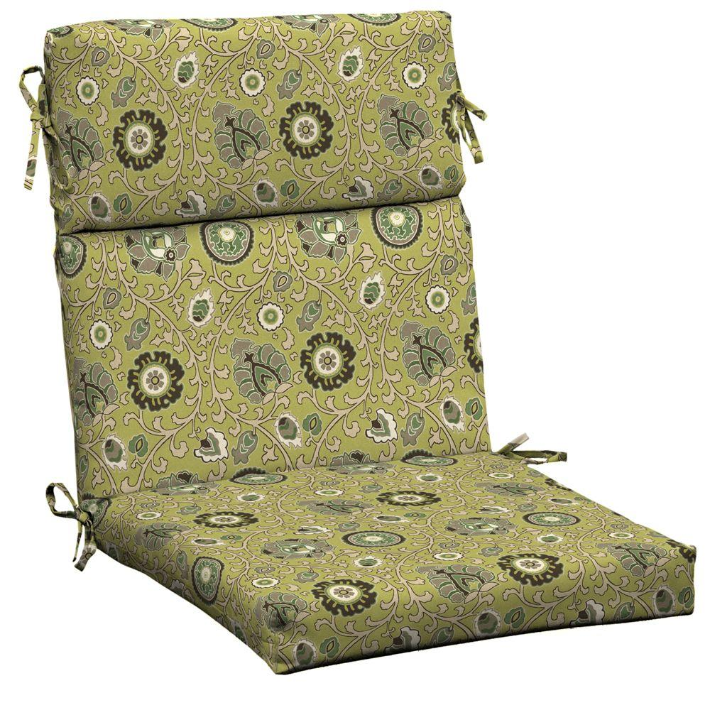 Hampton Bay Green Tea Suzanni High Back Outdoor Chair Cushion