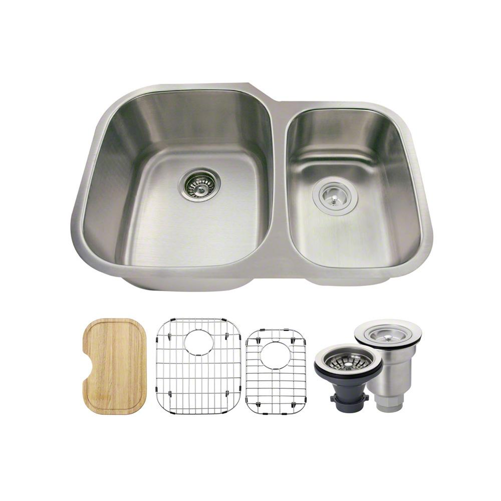 All-in-One Undermount Stainless Steel 29 in. Left Double Bowl Kitchen Sink