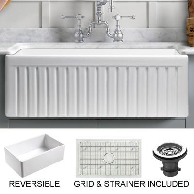 Sutton Place Farmhouse Fireclay 27 in. Single Bowl Kitchen Sink with Grid with Grid and Strainer