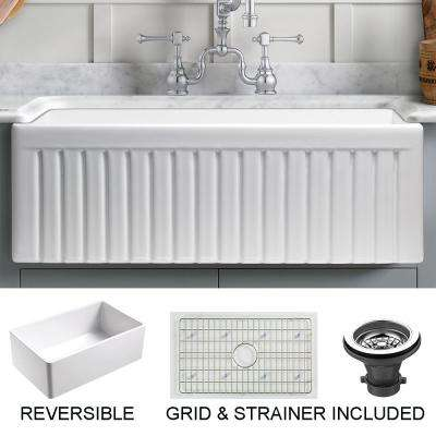 Sutton Place Farmhouse Fireclay 33 in. Single Bowl Kitchen Sink with Grid with Grid and Strainer