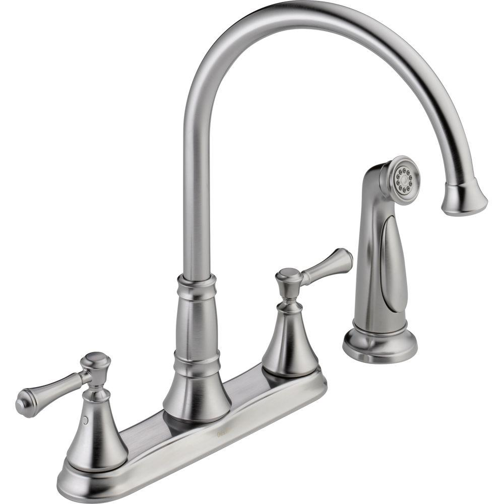 Delta Cassidy 2-Handle Standard Kitchen Faucet with Side Sprayer in Arctic Stainless