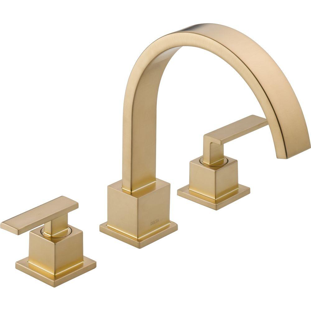 Delta Vero 2-Handle Deck-Mount Roman Tub Faucet Trim Kit Only in Champagne Bronze (Valve Not Included)