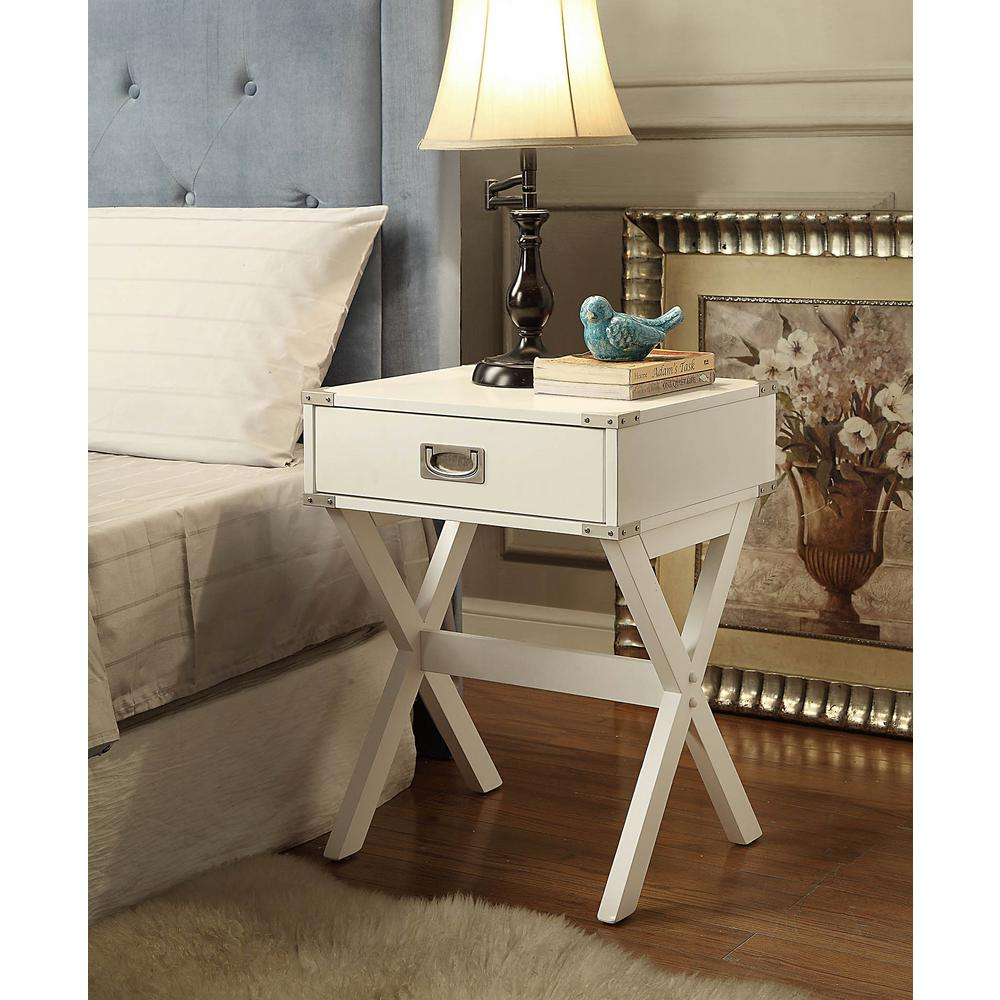 Acme furniture babs white storage end table 82824 the for White end table with storage