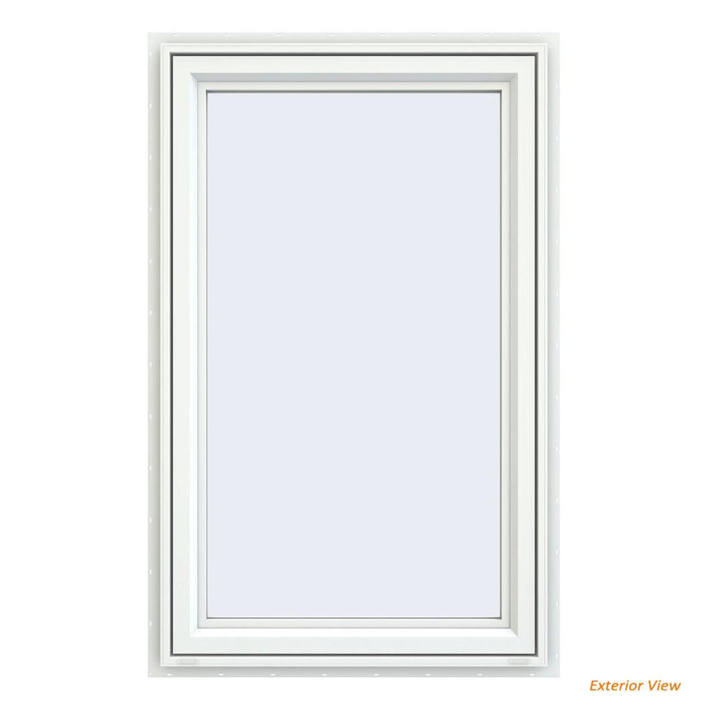 JELD-WEN 29.5 in. x 47.5 in. V-4500 Series White Vinyl Left-Handed Casement Window with Fiberglass Mesh Screen