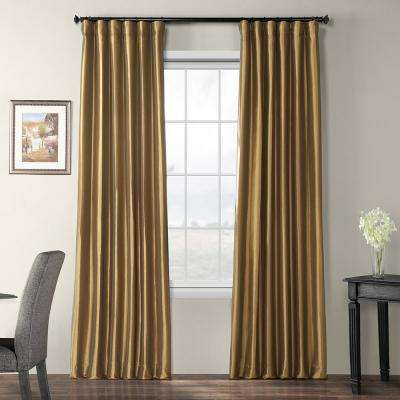 Gold Nugget Brown Blackout Faux Silk Taffeta Curtain - 50 in. W x 120 in. L
