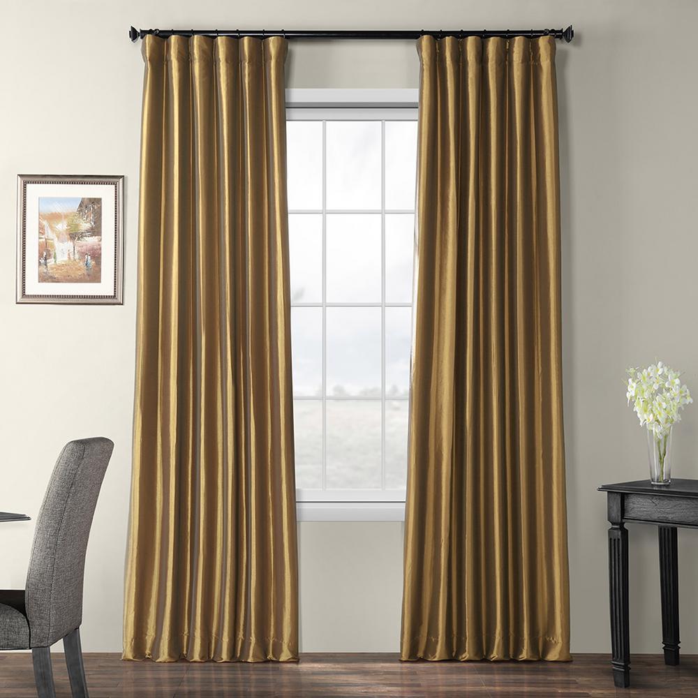 Gold Nugget Brown Blackout Faux Silk Taffeta Rod Pocket Curtain - 50 in. W x 96 in. L