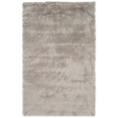 Faux Sheep Skin Gray 3 ft. x 4 ft. Area Rug