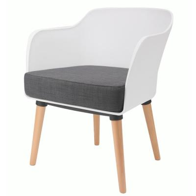Cali Series White Modern Accent Living Room Arm Chair with Beech Wood Leg