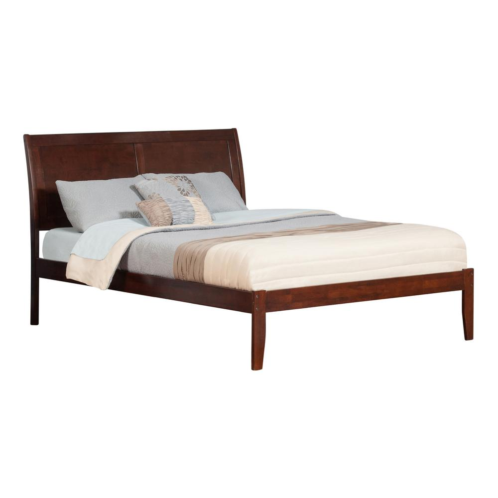 Portland Walnut King Platform Bed with Open Foot Board