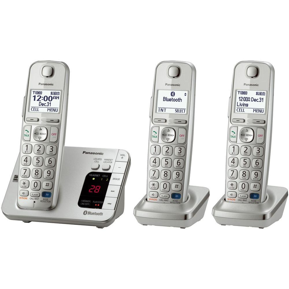 Panasonic Link2Cell 3-Handset Digital Cordless Bluetooth ...