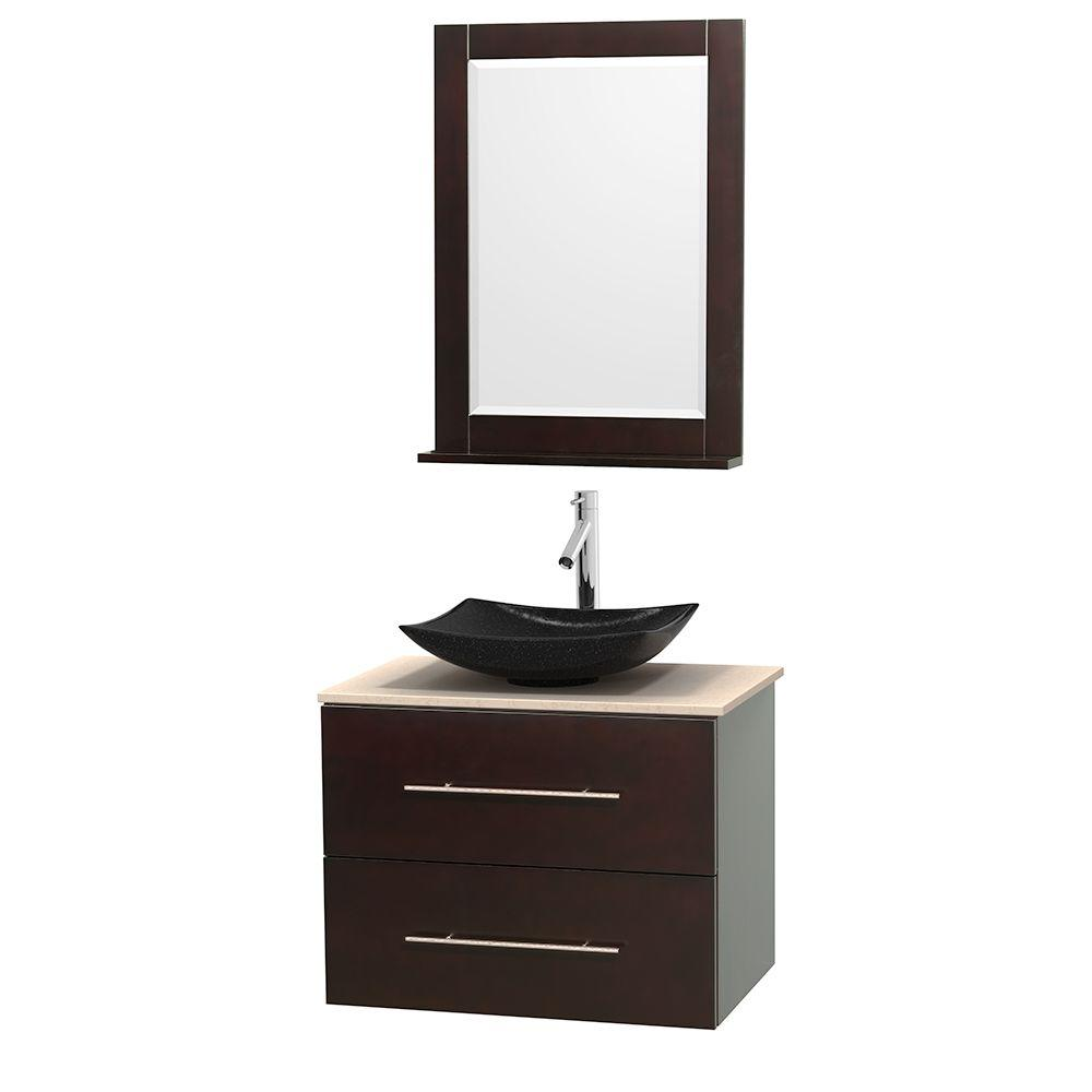 Wyndham Collection Centra 30 in. Vanity in Espresso with Marble Vanity Top in Ivory, Black Granite Sink and 24 in. Mirror