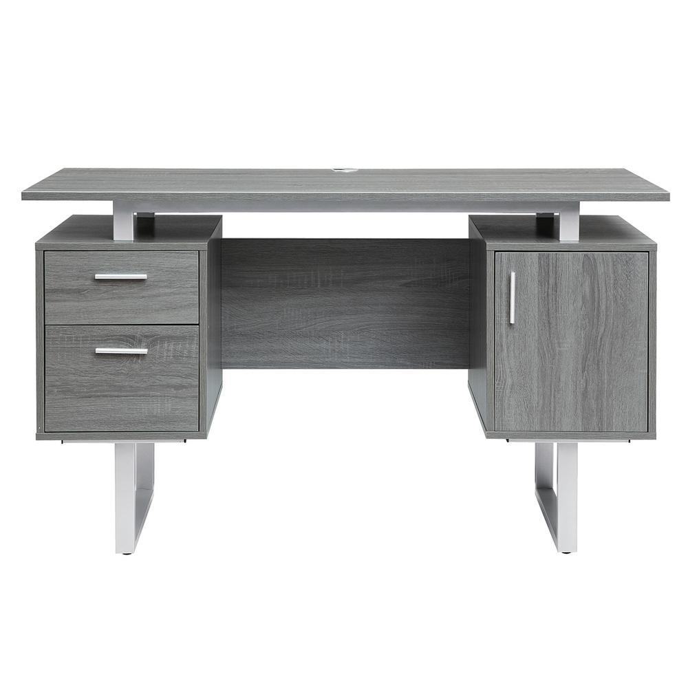 Gray Modern Office Desk with Storage