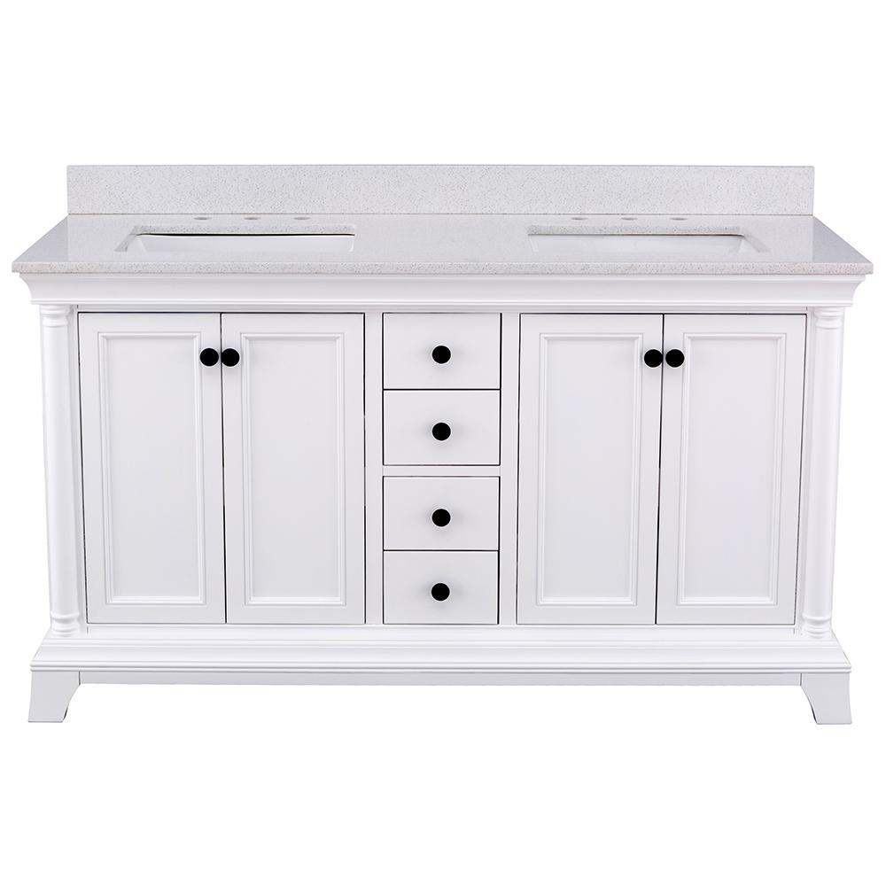 Home Decorators Collection Strousse 61 in. W x 22 in. D Vanity Cabinet in White with Engineered Stone Vanity Top in Ice Diamond with White Sinks