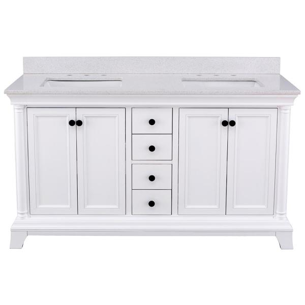 Strousse 61 in. W x 22 in. D Vanity Cabinet in White with Engineered Stone Vanity Top in Ice Diamond with White Sinks