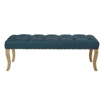 Scarlet Klein Azure Fabric with Antique Bronze Nailheads with Brushed Legs Bench