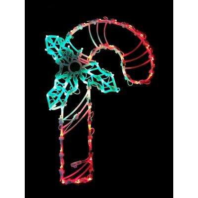 18 in. LED Lighted Candy Cane Christmas Window Silhouette Decoration