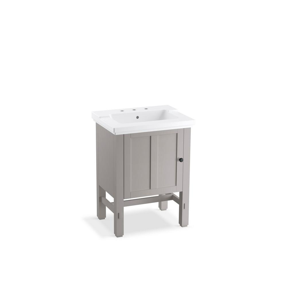 KOHLER Tresham 24 in. W x 18-1/4 in. D Vanity in Mohair Grey with Vitreous China Vanity Top in Gray with White Basin