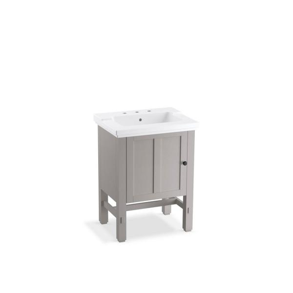 Tresham 24 in. W x 18-1/4 in. D Vanity in Mohair Grey with Vitreous China Vanity Top in Gray with White Basin