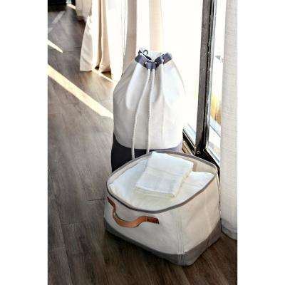 Gray Leather Handle Tub Storage Bin
