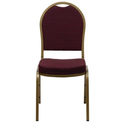Burgundy Patterned Fabric/Gold Frame Stack Chair