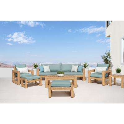 Benson 8-Piece Wood Patio Conversation Set with Sunbrella Spa Blue Cushions