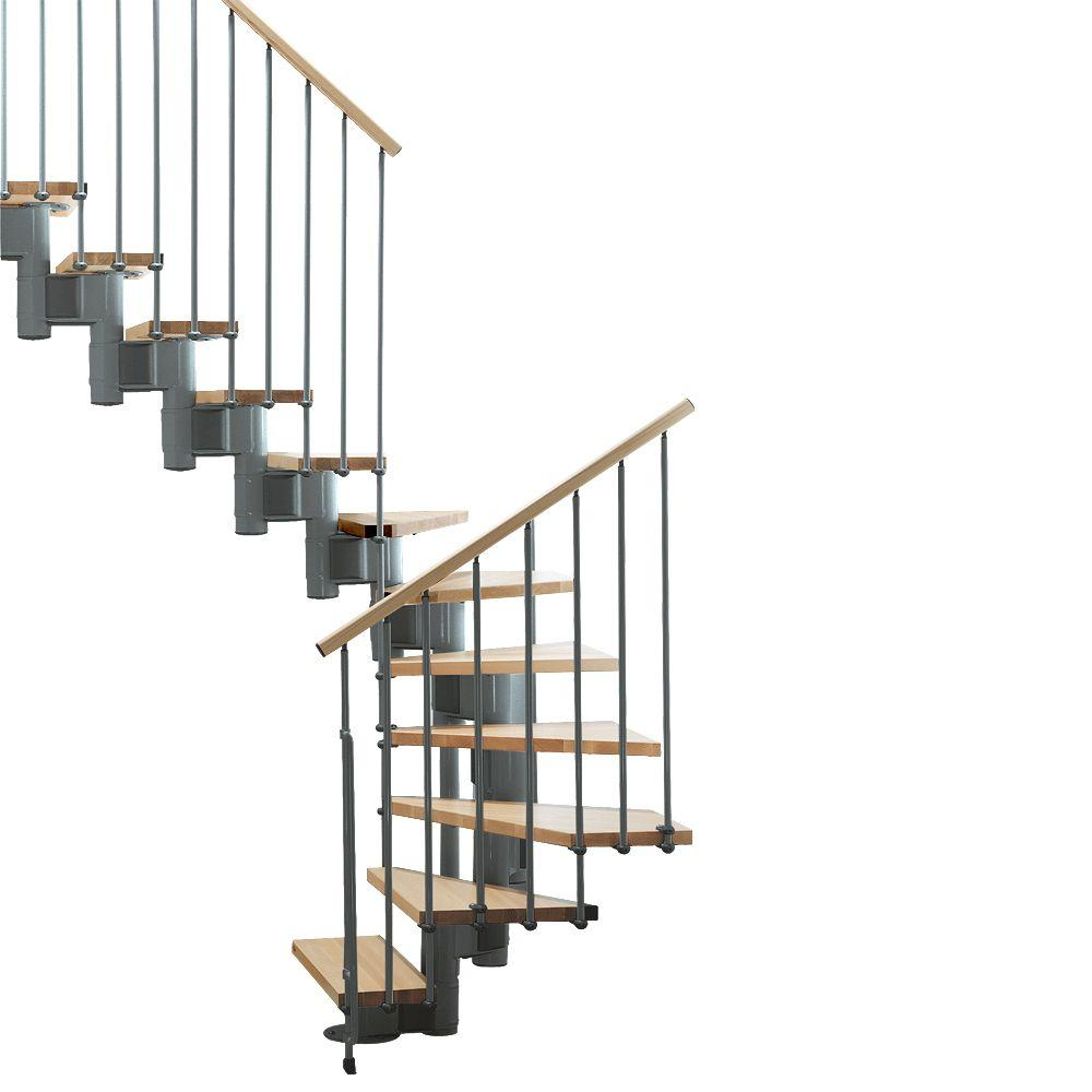 "Arke Kompact 29 in. Grey Modular Staircase ""U"" Kit"