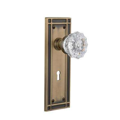 Mission Plate with Keyhole Single Dummy Crystal Glass Door Knob in Antique Brass