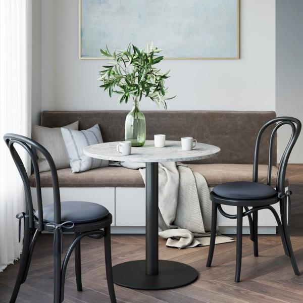 Nathan James Lucy White Carrara Faux Marble Table Top And Black Pedestal Base Modern Kitchen Or Dining Table 42001 The Home Depot