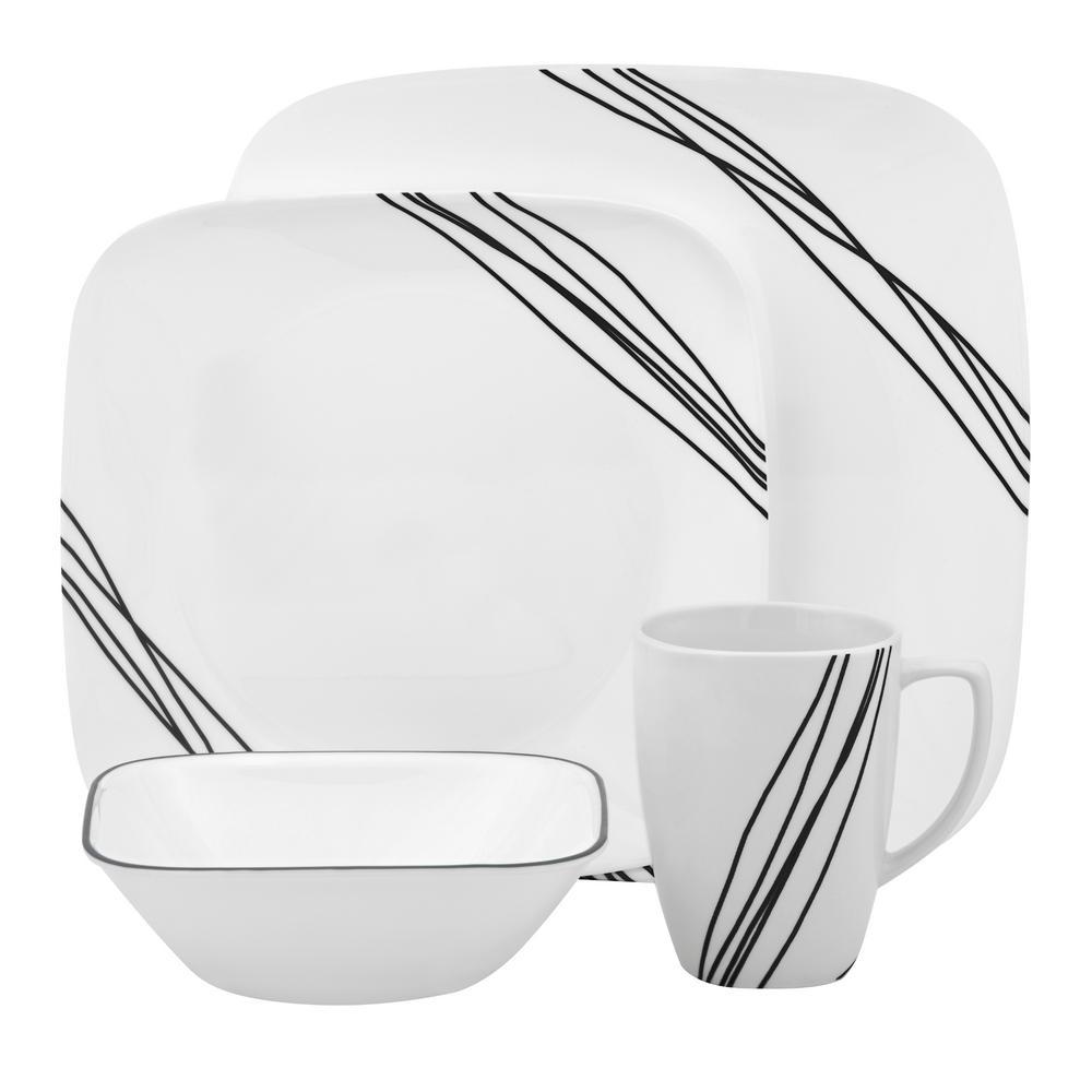 Corelle Square 16-Piece Simple Sketch Dinnerware Set 1088188