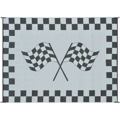 9 ft. x 12 ft. Reversible Black and White Racing Flag Mat