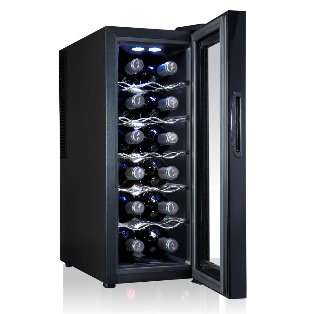 12 Bottle Thermoelectric Freestanding Wine Cooler Fridge Cellar Refrigerator with Door Lock - Black