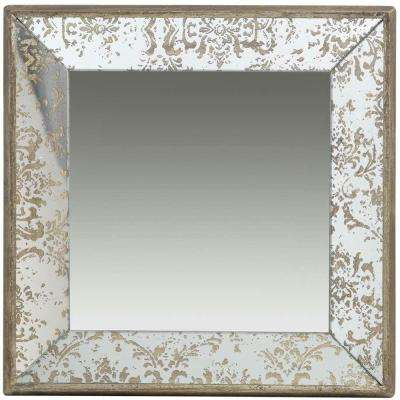24 in. x 24 in. Decorative Mirror Tray in Rustic Brown