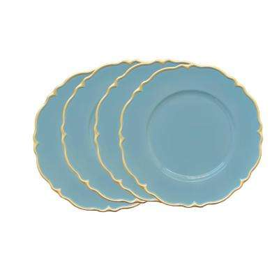 Blue Melamine Charger Plates with Gold Scallop (4-Pack)