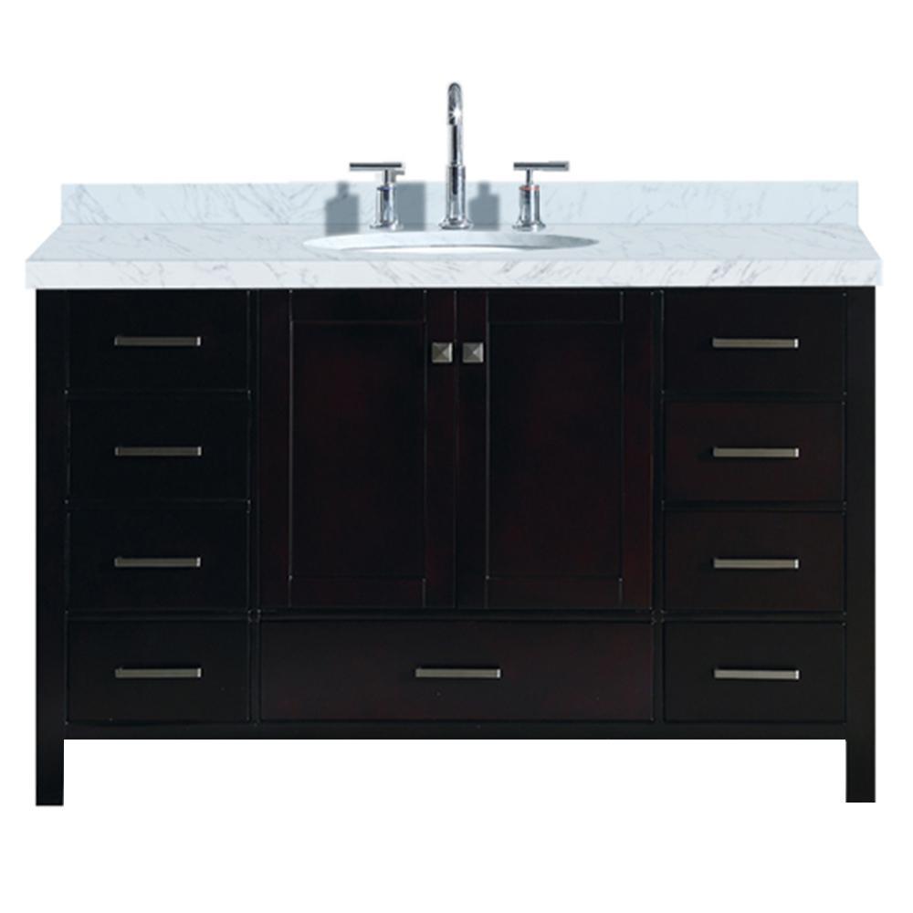 Ariel cambridge 55 in bath vanity in espresso with marble - 55 inch bathroom vanity single sink ...