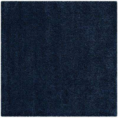 Santa Monica Shag Navy 6 ft. 7 in. x 6 ft. 7 in. Square Area Rug