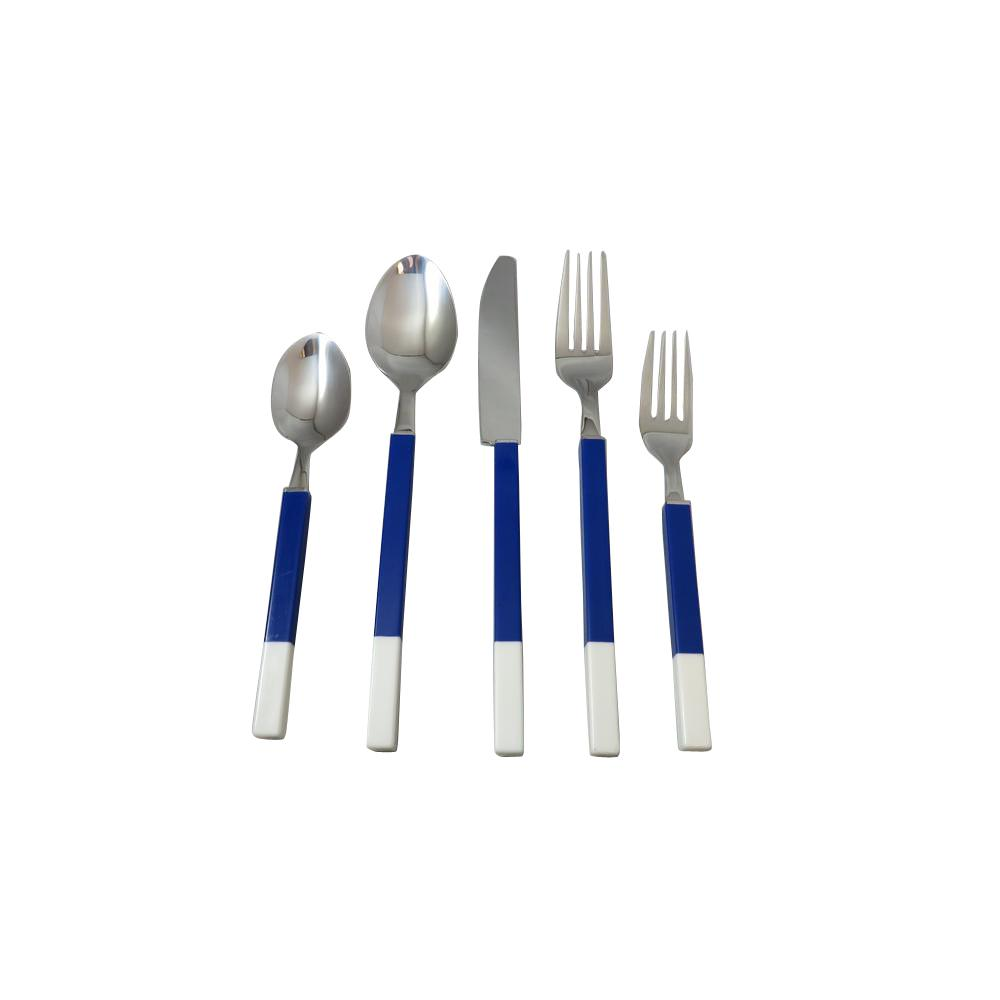 Northfield 20-Piece Blue and White Stainless Flatware Set