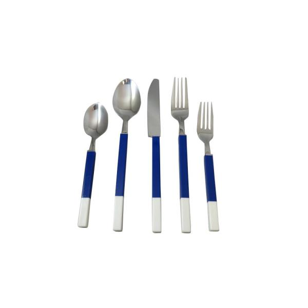 Holister Northfield 20-Piece Blue and White Stainless Flatware Set