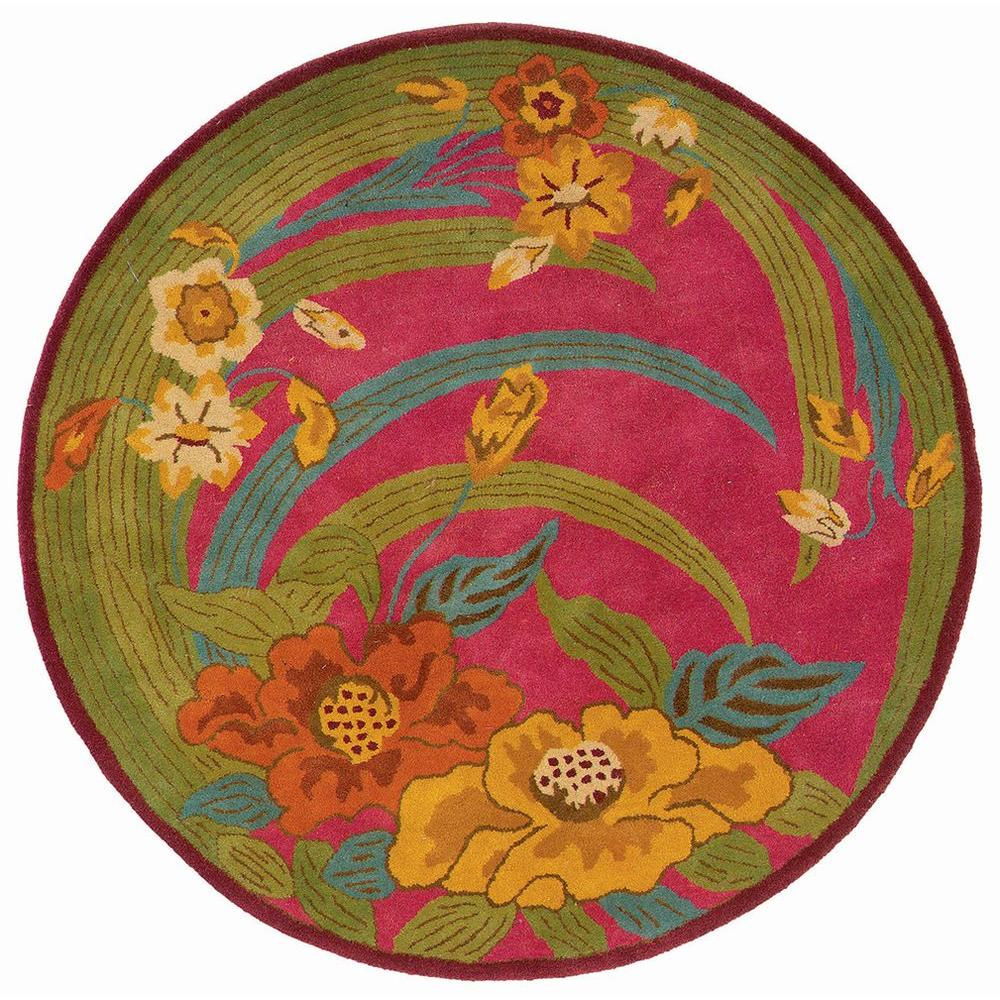 LR Resources Contemporary Pink Round 7 ft. 9 in. Plush Indoor Area Rug