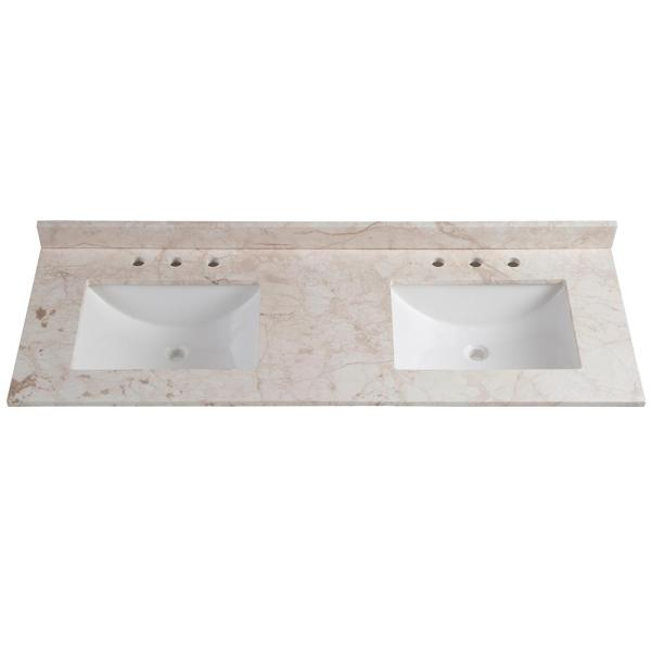 61 in. W x 22 in. D Stone Effects Double Vanity Top in Dune with White Sinks