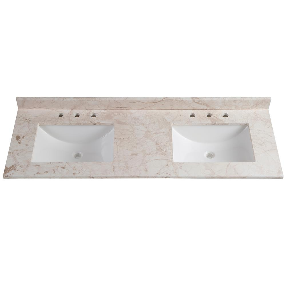 Home decorators collection 61 in w x 22 in d stone effects double vanity top in dune with Home decorators double vanity