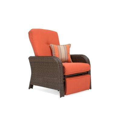 Sawyer Wicker Outdoor Recliner with Sunbrella Spectrum Grenadine Cushion