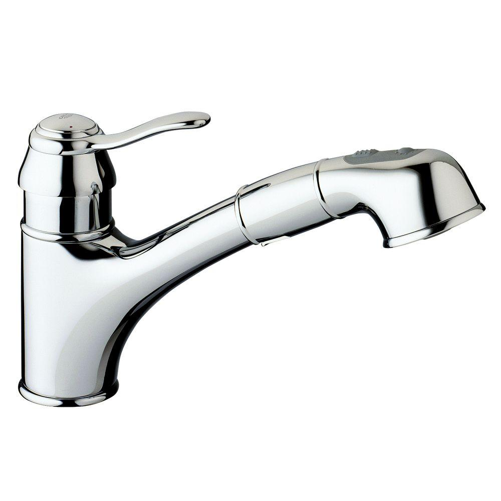 GROHE Ashford Single-Handle Pull-Out Sprayer Kitchen Faucet in Chrome
