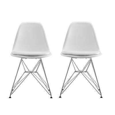 Alba White Mid Century Modern Molded Chair with Upholstered Seat (Set of 2)