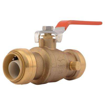 1 in. Brass Push-to-Connect Ball Valve with Drain