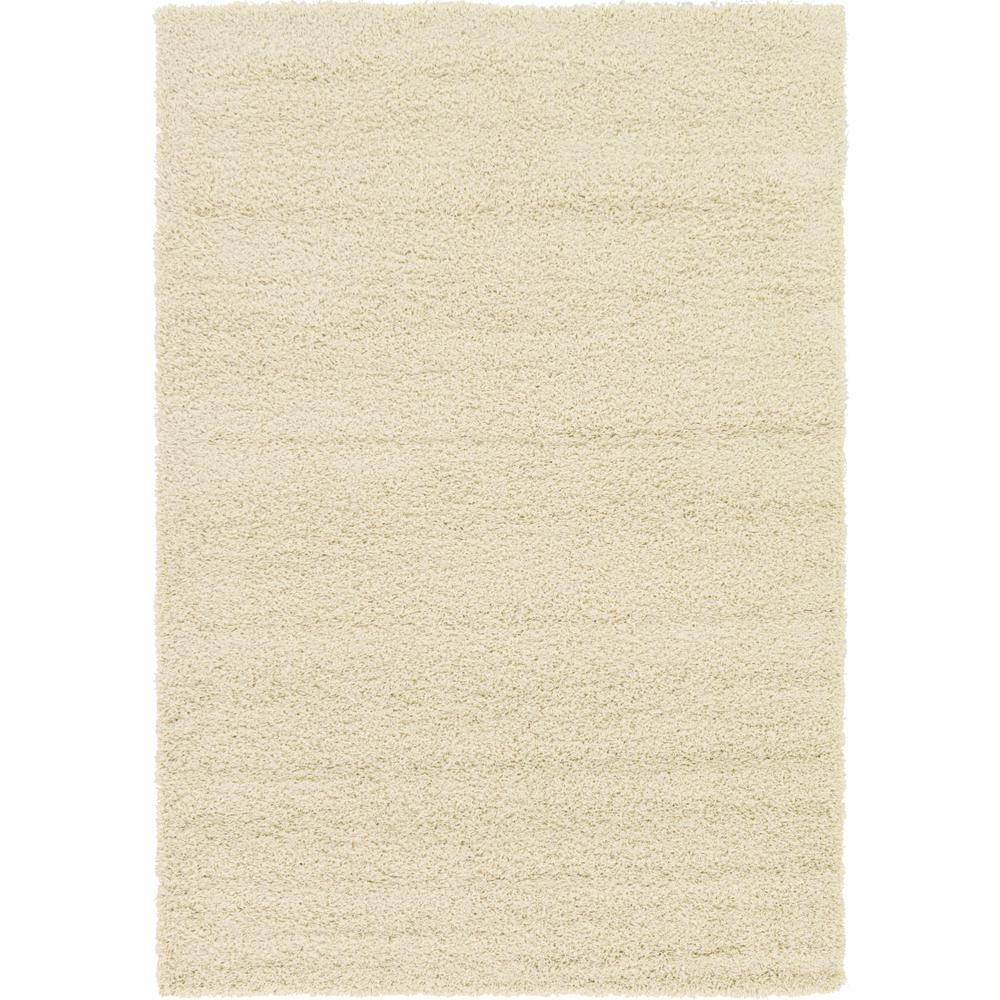 Unique Loom Solid Shag Pure Ivory 6 Ft X 9 Ft Area Rug