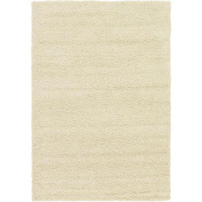 Solid Shag Pure Ivory 6 ft. x 9 ft. Area Rug