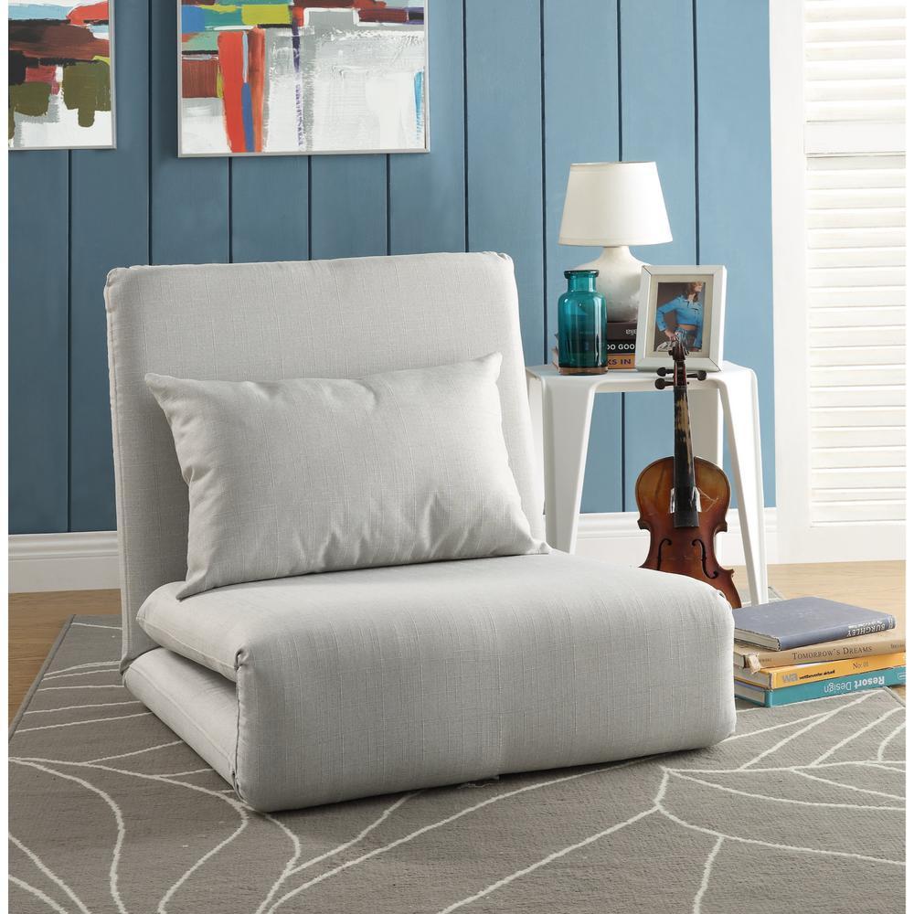 Beige Relaxie Linen Convertible Flip Chair Floor Sleeper