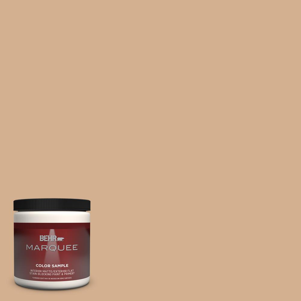 Behr Marquee 8 Oz Mq2 04 Butterscotch Amber One Coat Hide Matte Interior Exterior Paint And Primer In One Sample Mq30416 The Home Depot