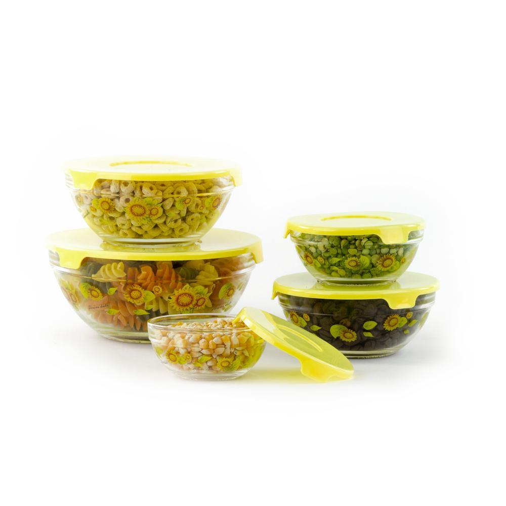Imperial Home 10-Piece Sunflower Design Food Storage Bowls