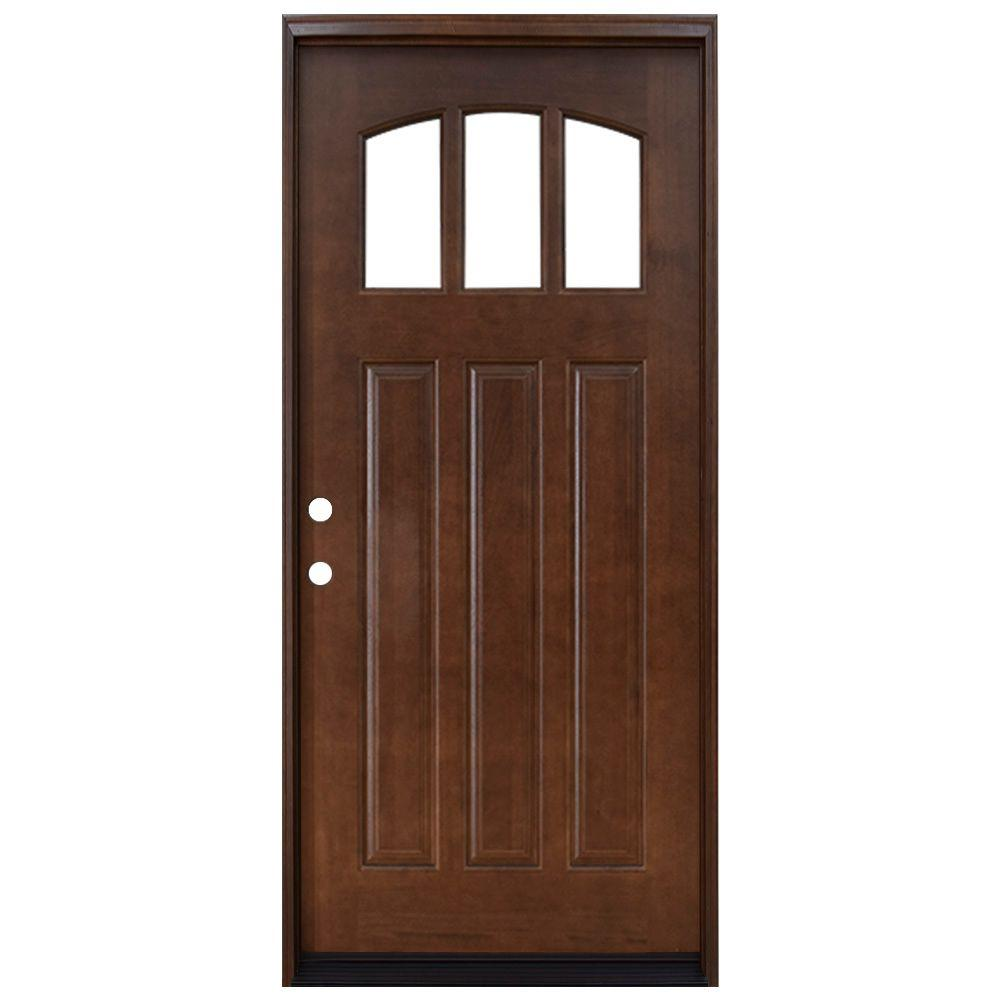 Steves & Sons 36 in. x 80 in. Craftsman 3 Lite Arch Stained Mahogany Wood Prehung Front Door